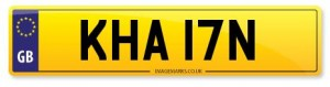 personalised number plate kha 17n