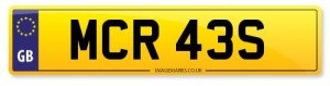 personalised number plate mcr 43s