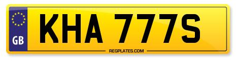 KHA 777S Number Plate