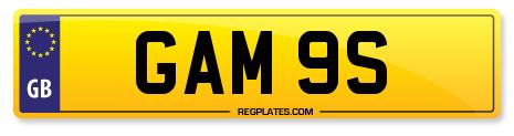 number plate GAM 9S - GAMES