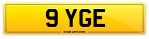Number Plate 9 YGE