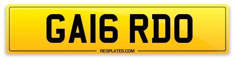 Lambo GA16 RDO Number Plate