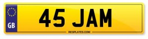 45 JAM Number Plate