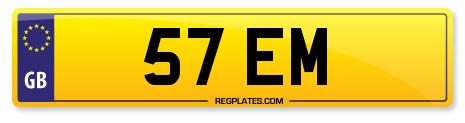 Number plate 57 EM