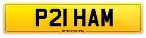 number plate P21 HAM