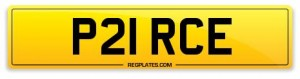 number plate P21 RCE