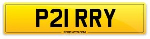 number plate P21 RRY