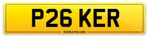 number plate P26 KER