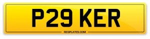 number plate P29 KER