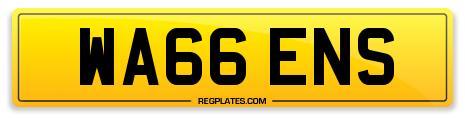 WA66 ENS 66 Series Number Plate