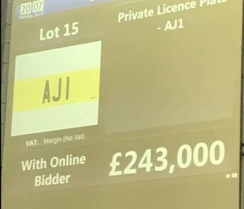 AJ 1 Number plate offered at auction