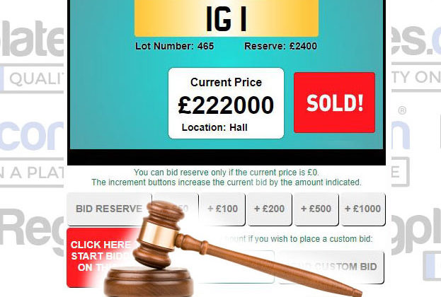 IG 1 Number plate auction