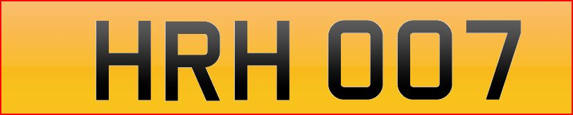 HRH James Bond Number Plate