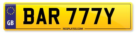 Number Plate BAR 777Y From Regplates