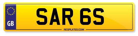 Number Plate SAR 6S From Regplates
