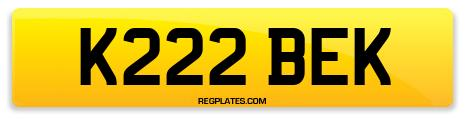 Registration K222 BEK