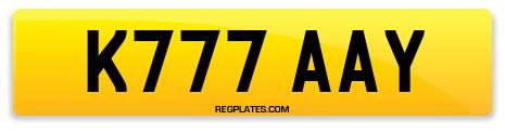 Registration K777 AAY